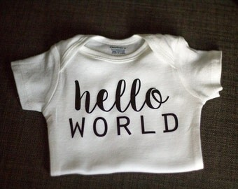 Hello World Newborn Outfit, Going Home Outfit, Announcement Outfit, Available in newborn, 0-3 months, & 3-6 month sizes!