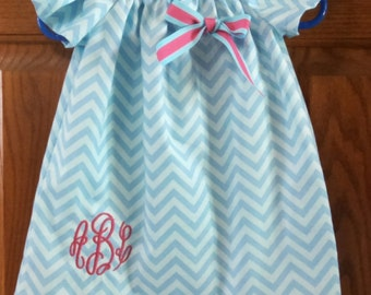 Monogrammed Peasant Dress with flutter sleeves for Baby/Toddler/Girl, Spring Dress, Easter Dress, Summer Dress