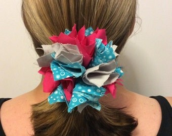 Pink/Teal/Gray Pom Pom Hair Bow