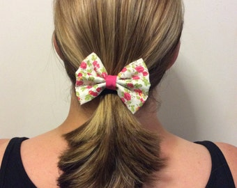 Pink Flower Hair Bow
