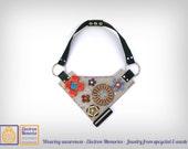 Electron basket - bib necklace with upcycled eWaste - vintage electronic parts repurposed - sustainable jewelry - geek flowers basket
