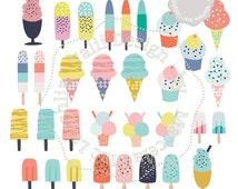 Ice Cream Clip Art HANDDRAWN Clipart Ice Cream Cones & Ice Pops- 32 digital summer graphics sprinkle and fruit ice pops milk sh