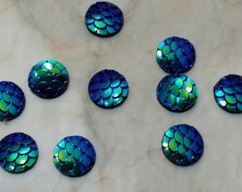 Metallic blue 10mm resin cabochon fish-mermaid- dragon scales- 10pcs (G1:7-748)
