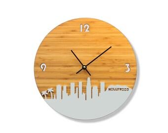 Los Angeles Skyline Bamboo Clock