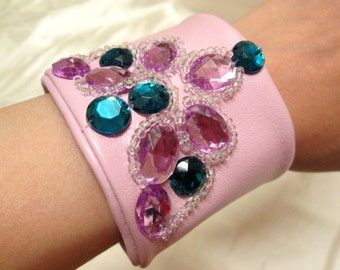 SALE, Leather bracelet with beaded elements leather cuff bracelet for woman