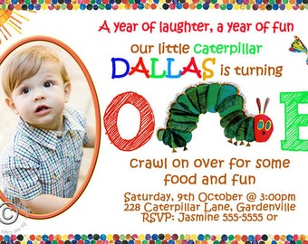 Hungry Caterpillar Birthday Party Invitation - Personalized with Photo - Hungry Caterpillar Birthday Party Invite