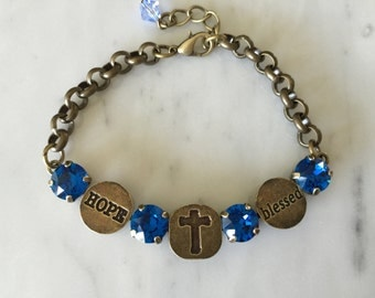 Blessed Bracelet with Capri Blue Crystals, in Antique Brass