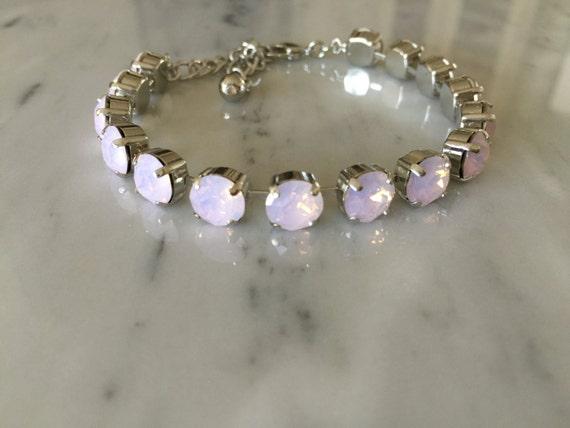Swarovski Rose Water Opal Crystal Bracelet, Pink Opal Crystal Bracelet, Crystal Tennis Bracelet, Pink Crystal Bracelet