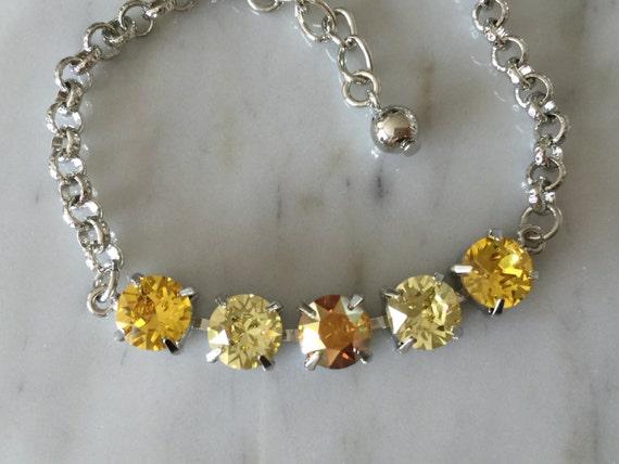 Yellow Mix Crysral Bracelet, Silver