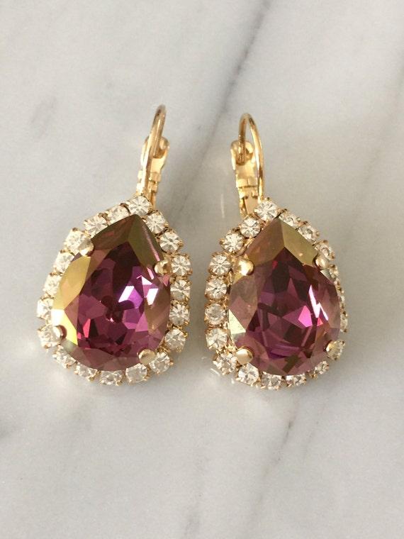 Large Pear Cut Swarovski Lilac Shadow Crystal Bridal, Bridesmaid, Cocktail Yellow Gold Earrings