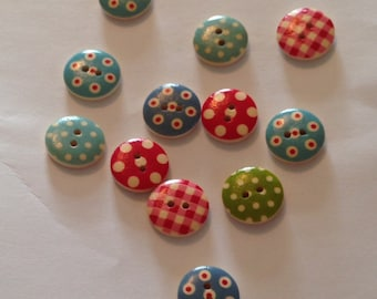 Polka Dot and Gingham Mix Buttons, pack of 15. 15mm.