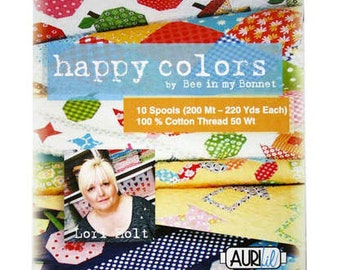 Happy Colors by Bee in my bonnet Aurifil Thread pack 10 spools-220 Yards- 50 weight