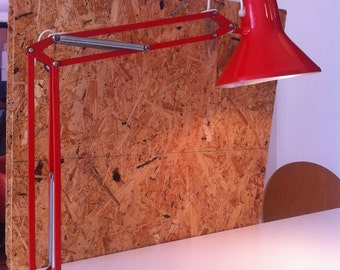 Danish Industrial desk lamp,  by LUXO in bright red!