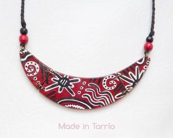 Wooden necklace: Red Zulu