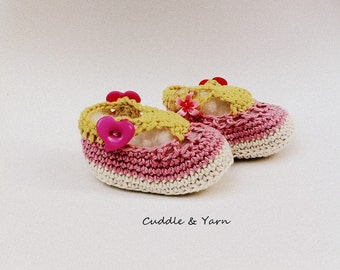 READY TO SHIP Crochet Baby Shoes, Crochet Summer Shoes, Newborn Shoes, Baby Sandals, Baby Girl Shoes, Newborn Photo Prop.