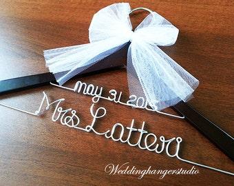 2 Line wedding hanger - Name hanger, Bride hanger, Bridal Gift hanger, mrs. hanger