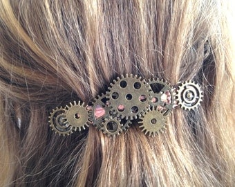 Steampunk Hair Accessory, Steampunk Hair Clip,Steampunk Bride, Victorian Style,Steampunk Jewelry, Steampunk Wedding,Metal Gear Barrette PR71