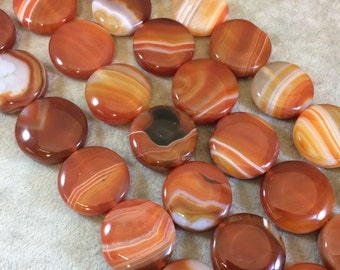 Red Banded Agate Thick Coin Beads, 25mm, approx. 16 beads per strand.