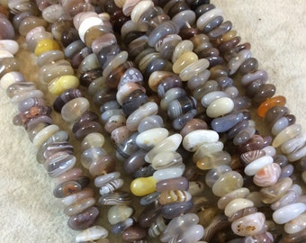 "Botswana Agate Flat Nugget Shaped Beads - Sold by 15.5"" Strands (Approx. 105 Beads) - Measuring 10-12mm - Natural Semi-Precious Gemstone"