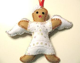 Christmas ornament - Felt Christmas Angel - Gingerbread girl - Felt ornaments - Hanging ornament - Holiday decor ornament -