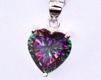 Genuine Rainbow Topaz Stone  Pendant 925  sterling Silver Necklace Valentine Gifts/ Lovers Jewelry