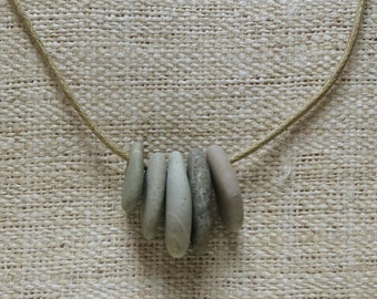 Natural beach pebble necklace