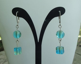Glass Drop Earrings with Sterling Silver Leverbacks