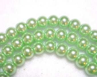 Mint Green Pearls 8mm Glass Pearls Green Round Celestial Glass Pearls Shimmery Pearl Rounds Light Green 8mm Pearl Rounds 50 Pearl Rounds