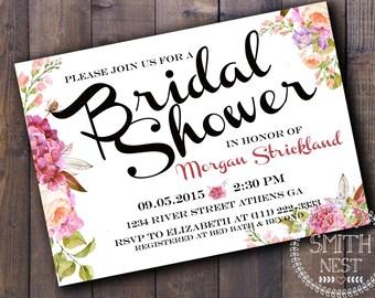 Sweet Elegance Bridal Shower Invitation DIY PRINTABLE Customizable Digital Print
