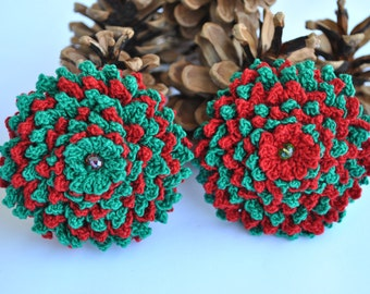 Crocheted brooch,green-red,red-green,party,jewelry,wedding#,handmade#,gift#,vintage,winter,teenage,woman,new trend 2016