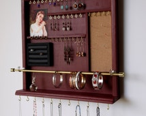 jewelry holder. cherry red earrings display. jewelry storage. Wall mounted jewelry rack. necklace holder. Wooden Jewelry storage.