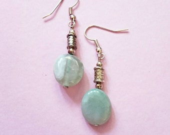 Jade earrings / green Jade drop earrings / Jade dangle earrings / green Jade dangle earrings