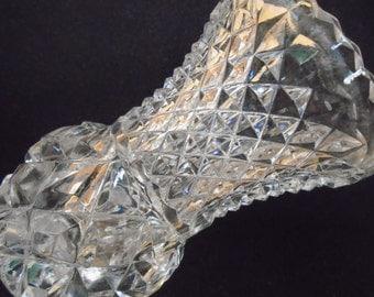 "EAPG 4"" Vintage Glass Vase, Trumpet Shape, Diamond Cut"