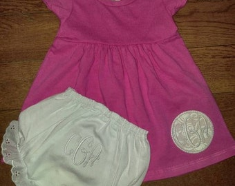 Monogrammed Dress and Bloomer Outfit