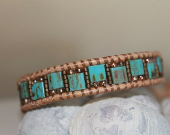 Leather single Wrap bracelet , Bohemian Blue,Miyuki beads