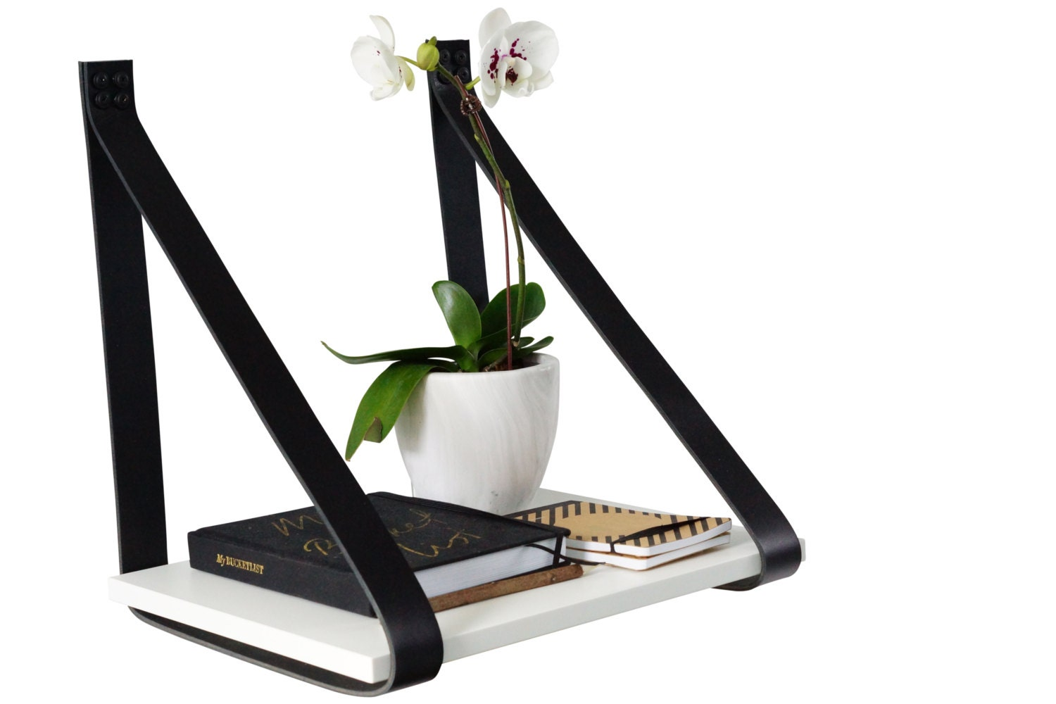 Leather Strap Hanging Bedside Table Shelf Natural by HandGDesign