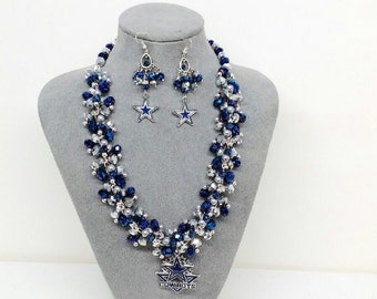 Dallas Cowboys Set - Chunky Necklace, Bracelet and Chandelier Earrings