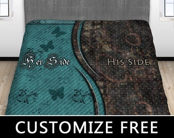 His Hers Steampunk Bed Sheet, His Side Her Side Bedding, Couples Fitted Sheet, Couples Top Sheet, Love, Twin, Full, Queen, King, Won't Fade