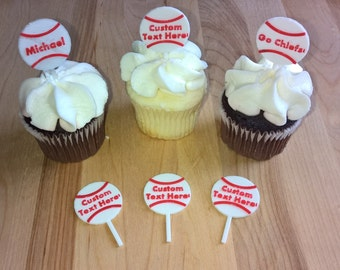 Custom Baseball CupCake Toppers