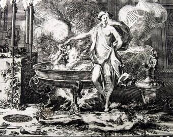 1676 - ESON - Le Clerc / Brun - Ovid Metamorphoses  original antique Print Mythology. Ancient Greece Rome. Over 330 years old.