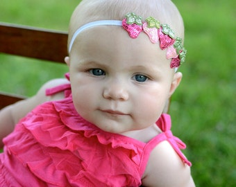 Strawberry Headband, Strawberry First Birthday Headband, Baby Girl Headband, Toddler Headband, Newborn Headband, Summer Headband, Photo prop