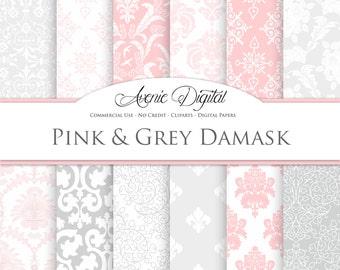 Pink and gray Damask Digital Paper. Scrapbooking Backgrounds. Light pink patterns for Commercial Use. Damask clipart Instant Download.