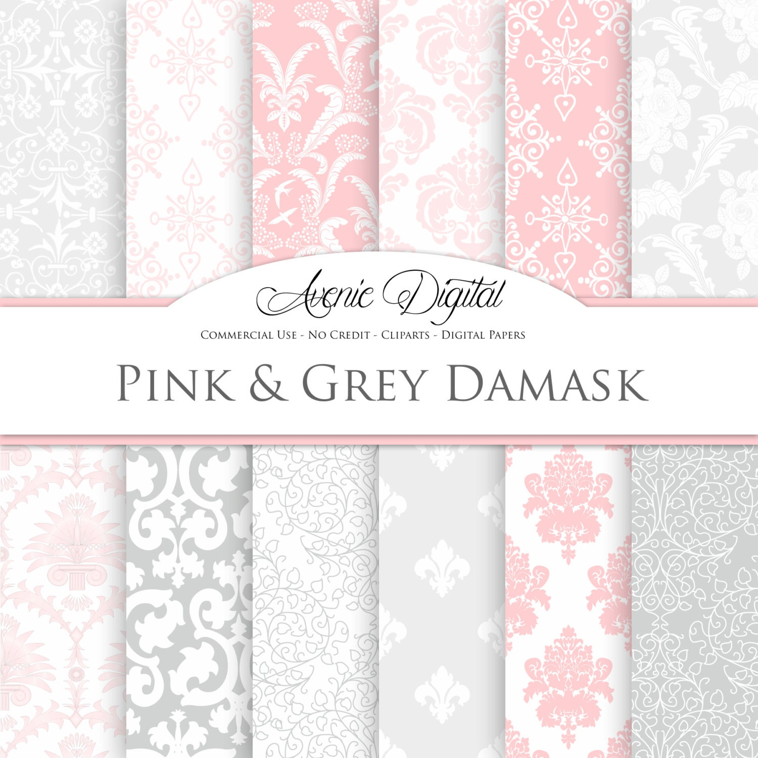 Pink and gray Damask Digital Paper. Scrapbooking Backgrounds.
