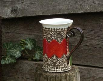 Ceramic Mug, Tea Mug, Red mug, Unique mug, Ceramics and pottery, ceramic cup, Tea cup, Coffee cup, Coffee mug, red mug, handmade mug, cup