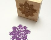 Thank You Flower Stamp - handlettered rubber stamp