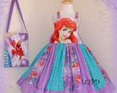Girls - READY TO SHIP - Princess Mermaid Ariel Dress Set - fits approx 3/4T maybe 4/5 - Birthday Party - Boutique -*** Free Shipping