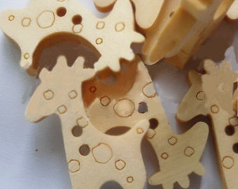 12pcs--Girafe Wooden Buttons, Blanched Almond (B31-3)