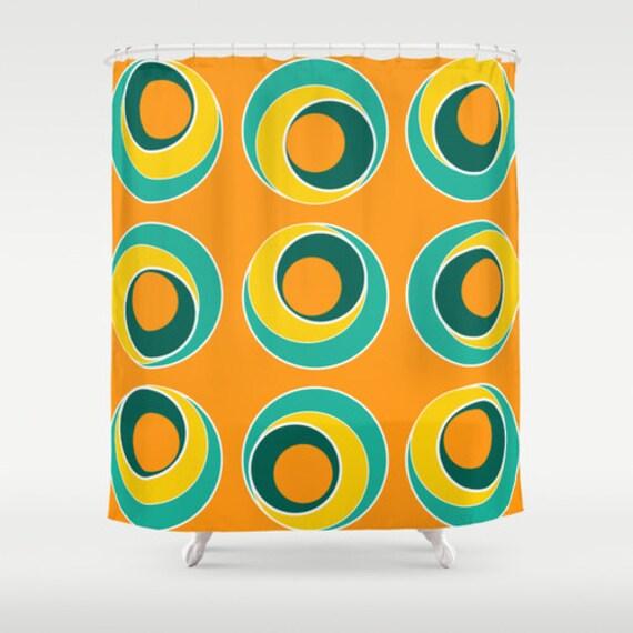 Items Similar To Colorful Shower Curtain Orange Shower Curtain Turquoise Ye