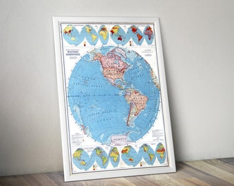 World Map of the Western Hemisphere | Colorful World Atlas Map | Map of the Western Hemishpere | Map Art