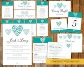 Complete Wedding template set (trio of  hearts)  DOWNLOAD PRINTABLE Microsoft word DIY wedding invite teal heart wedding set invite set